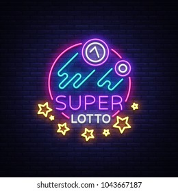 Super loto neon sign. Bingo lotto logo in a neon style, bright symbol, lototron, neon banner, bright night advertising for your projects. Vector Illustrations