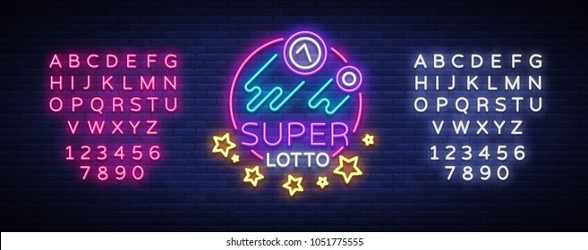 Super loto neon sign. Bingo lotto logo in a neon style, bright symbol, lototron, neon banner, bright night advertising for your projects. Vector Illustrations. Editing text neon sign
