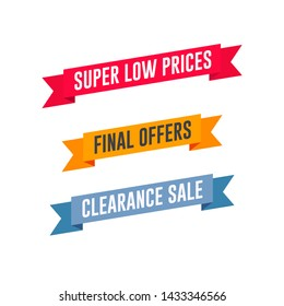 Super Low Prices, Final Offers & Clearance Sale Shopping Ribbon Set