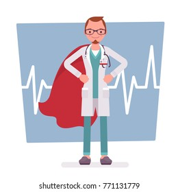Super male doctor. Best trained, qualified clinic physician, hospital superhero with extraordinary or superhuman powers to save. Medicine and healthcare concept. Vector flat style cartoon illustration