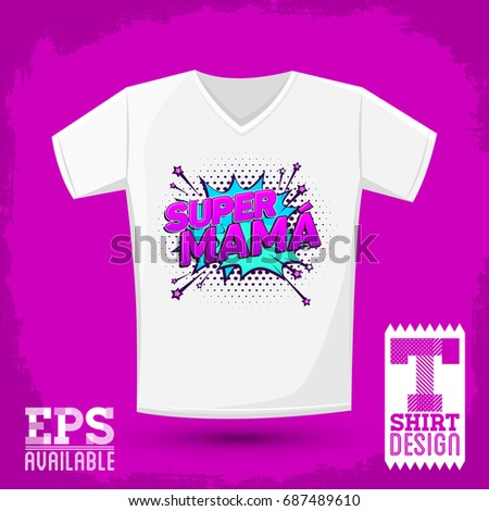 2e619585 Super mama, Super Mom spanish text, vector t-shirt print template  illustration