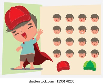 Super man. face emotions. flat vector illustration