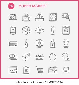 Super Market Hand Drawn Icons Set For Infographics, Mobile UX/UI Kit And Print Design. Include: Cigarette, Cigarette Box, Cigarette Pack, Carrot, Crunchy, Vegetable, Icon Set - Vector