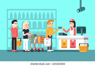 Super market, mall interior with people, saleswoman and store display flat vector illustration. Supermarket with buyer, counter and shopper in market
