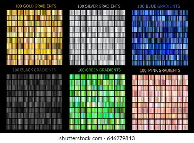Super megaset of colorful gradients. Collection of gold, silver, blue, green, black, pink gradients illustrations for backgrounds, cover, frame, banner, label, flyer card design. Vector template EPS10