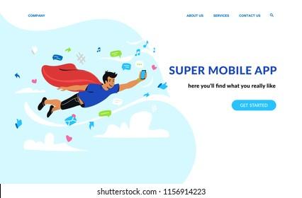 Super mobile app and social networks. Flat emotional vector illustration for website and landing page design of smiling superhero flying in sky of social media symbols holding smartphone in his hand
