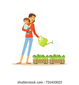 Super mom character with child, watering flowers
