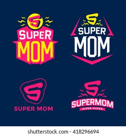 Super mom emblem. Super hero logo set. Vector illustration