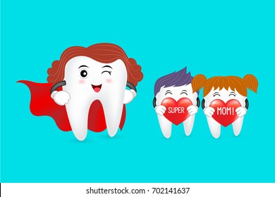 Super mom with family, tooth characters design. Love mom, happy mother's day. Great for dental care concept. Illustration isolated on blue background.
