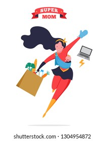 Super Mom. Flying superhero mother carrying a baby. Vector illustration
