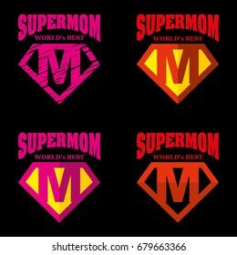 Super Mom hero Logo Supehero Letters
