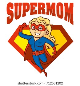 Super Mom hero Logo Supehero Letters Mother day Vector