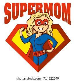 Super Mom hero Superhero Cartoon character Vector Illustration