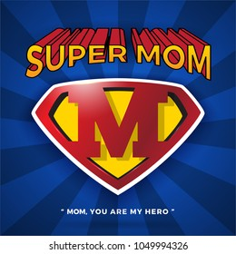 Super Mom Logo Design For Mother's Day. Letter M logo in Diamond Shape.Vector illustration