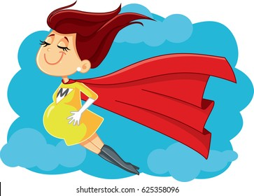 Super Mom Vector Cartoon Illustration - Drawing of a superhero pregnant mother to be