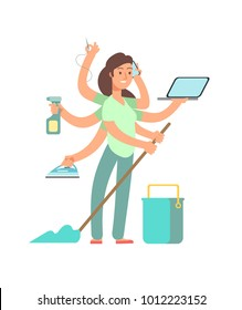 Super mom vector concept. Stressed mother in business and housework activities. Mother housework, mom busy multi tasking illustration