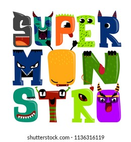 Super monstro. T shirt design with letter like monster, cartoon character, shark, devil, snake. Mutant character with horn, tongue, fin, fangs. letting composition