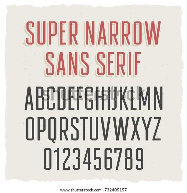 Super Narrow Sans Serif Font Uppercase Stock Vector (Royalty Free