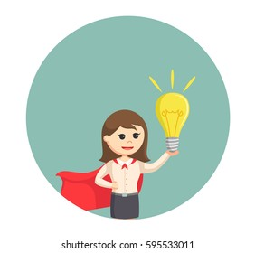 super office girl with giant bulb in circle background