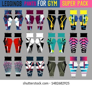 super pack of leggings pants vector for gym with mold ready to use