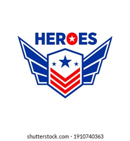 super patriotic heroes logo vector design people who protect people concept inspiration
