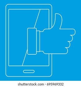 Super phone icon blue outline style isolated vector illustration. Thin line sign