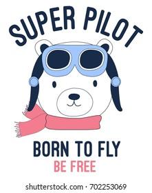 super pilot bear illustration vector.