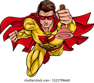 A super plumber handyman hero superhero holding a toilet or sink plunger
