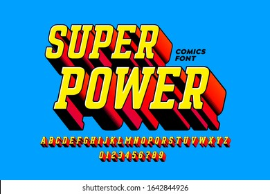 Super Power comics style font, alphabet letters and numbers, vector illustration