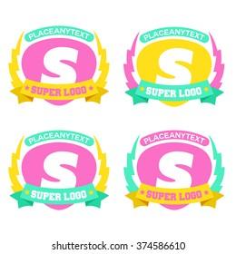 Super Power Logo Design Flat Minimal Emblem Vector Illustration Graphic Template