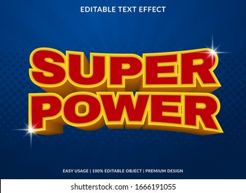 super power text effect template with 3d type style and retro concept use for brand label and logotype sticker