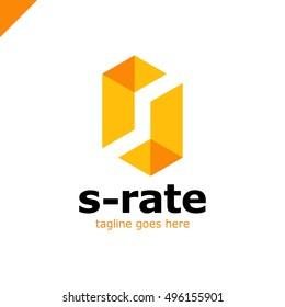 Super Rate Logo - Letter S Line Logotype orange color