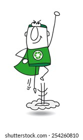 Super recycling hero in action. Super Recycling Hero is flying away quickly! It's an emergency. He can help your company to recycling her wastes !