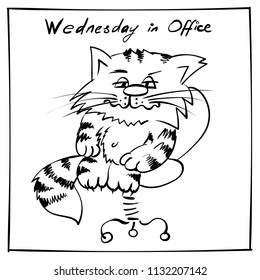 Super sad office cat. Sitting on office chair  kitty. infantile outline sketch cat  for coloring book. Cat for print. Doodle  cartoon office wednesday tom cat