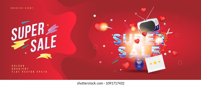 Super sale of 25% off. The concept for big discounts with voluminous text, a retro TV and red hearts on a red background with light effects. Flat vector illustration EPS10.