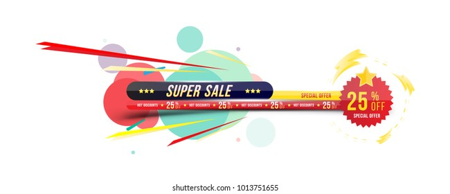 Super sale 25% off discount. Banner with shadow in horizontal format with sticker. Big discount, template for print advertising and web banner. Flat vector illustration EPS 10.