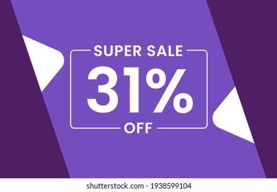 Super Sale 31% Off Banner, Sale tag 31% off vector illustration