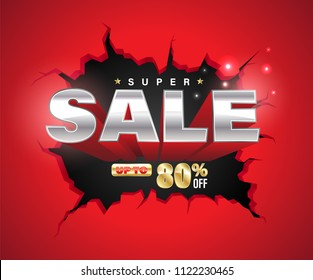 Super sale 3D exploded on cracked wall. Vector illustration for promotion advertising.