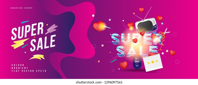 Super sale of 50% off. The concept for big discounts with voluminous text, a retro TV and red hearts on a pink background with light effects. Flat vector illustration EPS10.