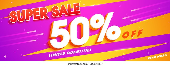 Super Sale with 50% Off. Social media banner design in yellow and purple colors.