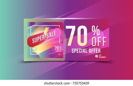 Super sale 70% off discount bright rectangular poster format and flyer. Template for design advertising and banner on colour background. Flat vector illustration EPS 10