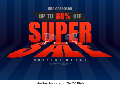 super sale up to 80% end of season special offer dark blue tone vector illustration eps10