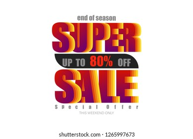super sale up to 80% end of year special offer colorful tone vector illustration eps10