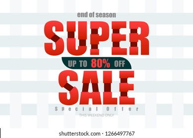 super sale up to 80% end of year special offer bone tone vector illustration eps10