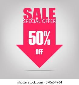 Super Sale arrow banner. Big sale, clearance. 50% off. Vector illustration.
