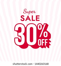 Super sale banner with 30% off discount vector design. Promo web poster.