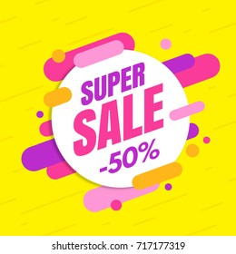 Super sale banner, colorful and playful design. Vector illustration