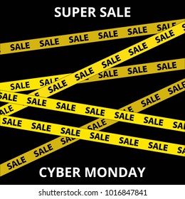 Super sale banner. Cyber Monday with police tape design