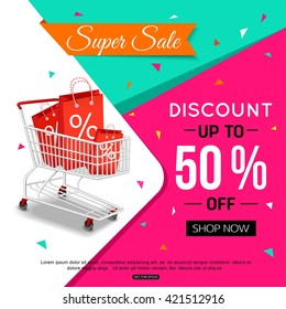 Super Sale Banner Design for shop. Vector illustration.