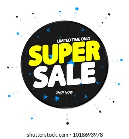 Super Sale, banner design template, discount tag, app icon, vector illustration